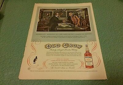 OLD CROW WHISKEY Ad -Kentucky Bourbon Ad - Whiskey Lover original 1956