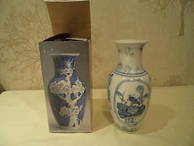 hand painted Victorian Style oriental blue & white Floral vase rayware new