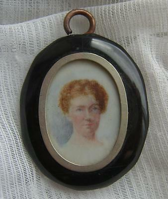 Antique Victorian WHITBY JET Mourning LOCKET Pendant with Hand Painted PORTRAIT