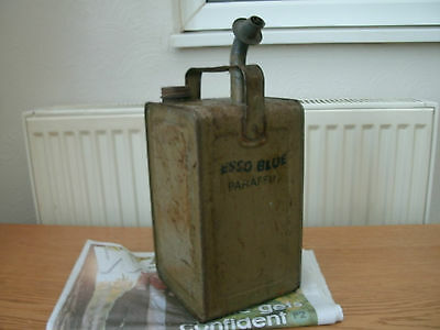 """Vintage """"esso Blue"""" One Gallon Paraffin Can With Pourer,no Leaks."""