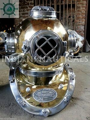 Boston  Mark V Diving Divers Helmet Aluminium & Brass Made Full Size