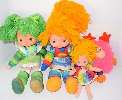 "Vintage RAINBOW BRITE & PATTY O' GREEN 18"" Doll Lot W/ Pink Sprite & Small Doll"