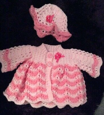 Beautiful Bonnet And Matinee Coat Set. Handknitted Prem Baby/Reborn .Pink Lace