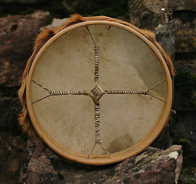 "12"" Shamanic Drum made with Red Deer Skin - supplied with beater"