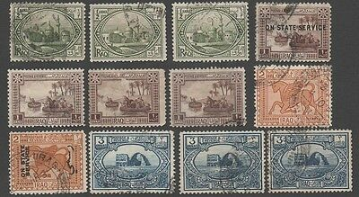 Iraq. 1923 -1925 Local Motives. Accumulation of 12 cancelled stamps