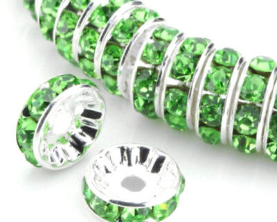 70 PCS  8mm Green Silver Plated CZ Crystal Rhinestone Spacer Loose Beads