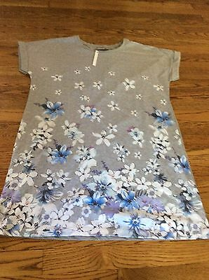 asos maternity dress tunic floral size 2 gray new nwt