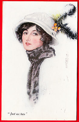 """Postcard - A VIVIAN MANSELL - PRETTY LADY IN FEATHERED HAT - """"Just We Two"""" - VGC"""