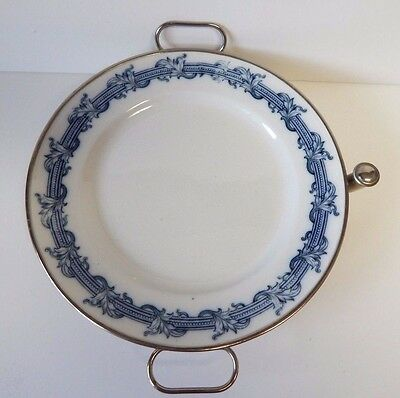 Very Rare & Unique Antique German Warmer Plate - Porcelain Over Metal Base !