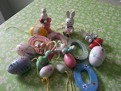 """15~VTG.EASTER WOODEN EGGS,bunnies,~1.5"""" ORNAMENTS~EASTER TREE DECORATIONS~(s)"""