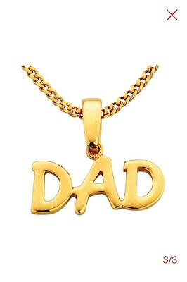 """9 Carat Gold Plated Silver Dad Necklace 20"""" Chain New Free Post Free Gift Box"""