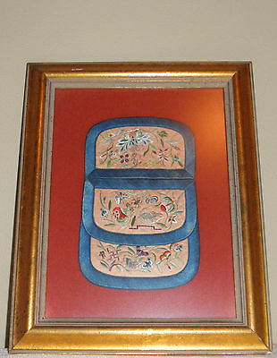 Antique Chinese Qing Embroidered Silk Robe Pouch Purse, Insects, Monkey
