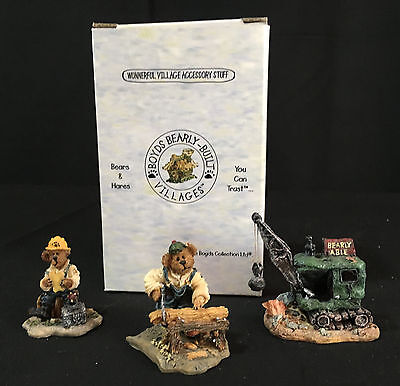 Boyds Bearly Built Village Town -Rusty, Lucky, Boomer's Demo FIGURE SET- perfect