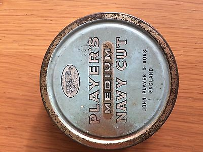 Players Medium Navy Cut Tin Round VIntage Tobacco Collectable