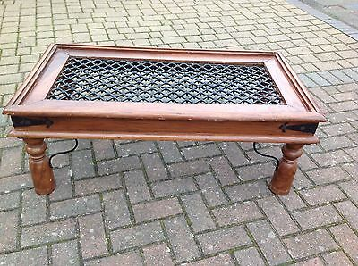 Indian Solid Oak  Jali Sheesham Coffee Table With Decorative Wrought Iron