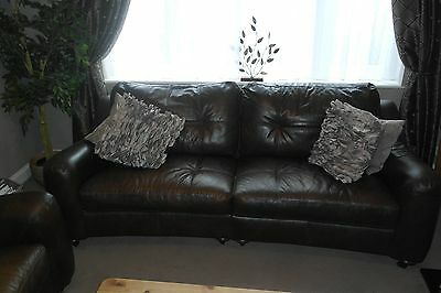 Three seater sofa plus armchair in brown leather