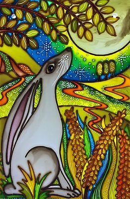 Moon Gazing Hare. Original hand painted Stained Glass panels and splash-backs