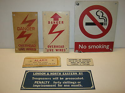 6 x RAILWAY RELATED SMALL SIGNS/PLATES - ALL IN GOOD OVERALL CONDITION