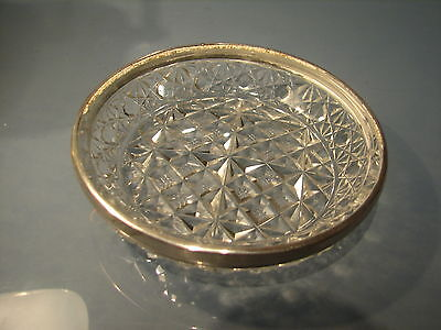 1905 Edwardian Silver fitted topped crystal glass dish 4 inches diameter.