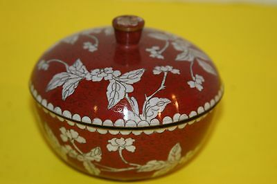 Vintage Chinese Footed Round Lidded Cloisonne Trinket Box