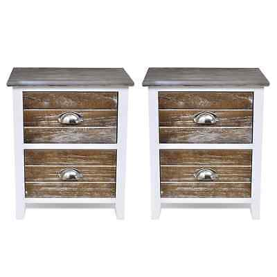 Wooden Bedside Tables Set of 2 Storage Cabinet Drawers Telephone Stands Bedroom