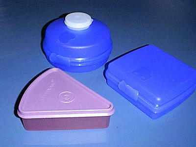 TUPPERWARE Lunch Containers PURPLE Pie Wedge, BLUE Sandwich, BLUE Salad or Bagel