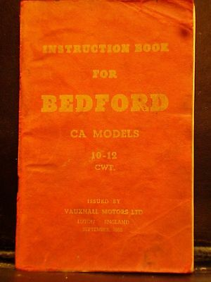 BEDFORD CA Models 10-12 CWT Instruction Book 1956