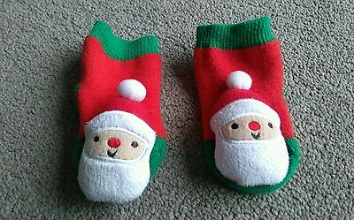 Nearly New Cute Baby's Red And Green Father Christmas Rattle Socks - 0-3 Months