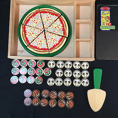 Melissa & Doug PIZZA PARTY in Wood Case 39 toppping pieces- Preowned