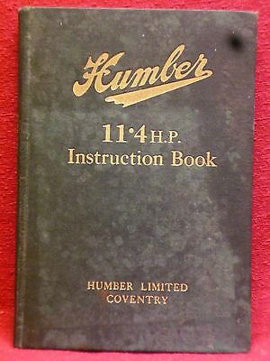 HUMBER 11.4HP Instruction Book 1923