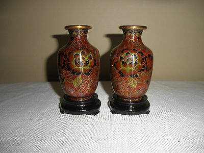 Fine Pair Chinese Cloisonne Vases On Stands With Original Box