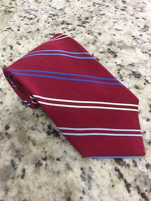 Brooks Brothers Makers 100% Silk Men's Tie Red with Blue/White Stripes