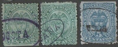 Colombia. 1883 -1886 Coat of Arms. Cancelled
