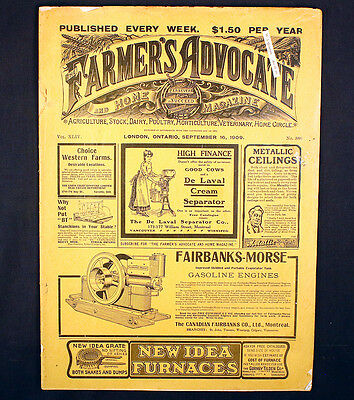 The Farmers Advocate and Home Antique Magazine London Ontario 1909 Agriculture