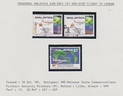 Inaugural Malasia Airlines 747 Non Stop Flight  Fine Used Stamps