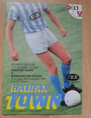 Halifax Town v Manchester United match programme 90/91 Rumbelows Cup 2nd round