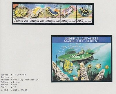 Malaysia Marine Life SG401 - MS406 Fine Used Stamps