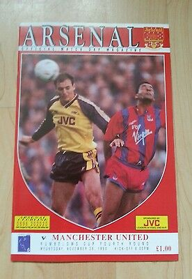 Arsenal v Manchester United match programme 90/91 Rumbelows Cup 4th round