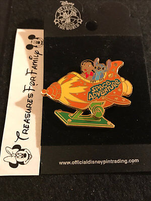 Disney Pin Lilo and Stitch Space Adventure Rocket MOVES 2003 NEW FREE SHIP
