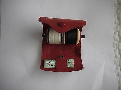 Vintage Leather Handy Sewing Kit Leather Roll With Original Cottons