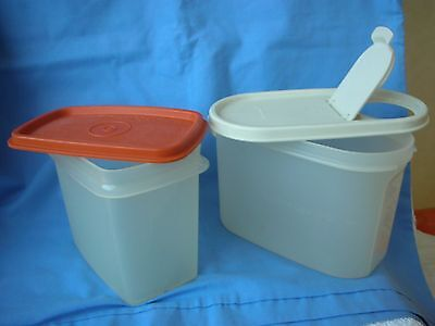 """VINTAGE TUPPERWARE-  2 """" SPACE SAVER"""" CANISTERS with LIDS"""