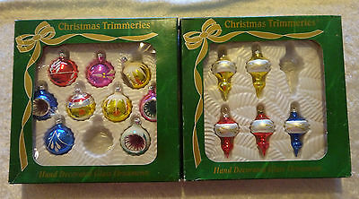 Vtg Ornaments Christmas Trimmeries Bradford Small Indent Teardrop 2 Boxes = 14