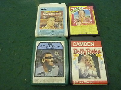 Job Lot 4 Vintage 8-Track Country & Western Music Cartridge Cassettes Jim Reeves