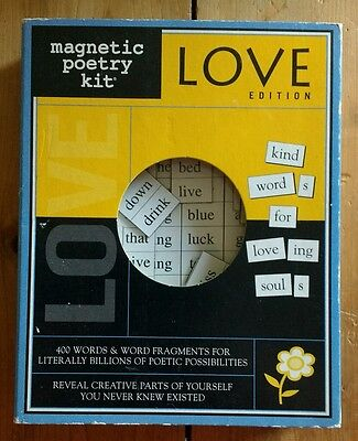 New Magnetic Refrigerator Poetry Kit Love Edition 2002 With 400 Words/Fragments
