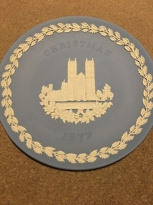 Wedgwood Blue Jasperware Christmas Plate 1977