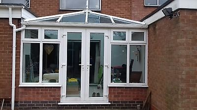 Upvc Conservatory Blue Self Cleaning Glass Roof Approx 3.6m x 3m now dismantled