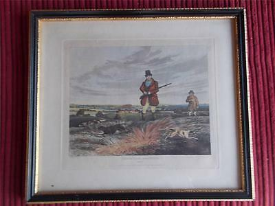 Antique c1835 Henry ALKEN PARTRIDGE SHOOTING Sporting Hunting Print Gun Dogs 1