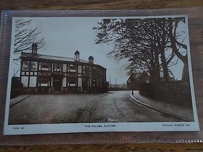 Vtg Postcard THE VILLAGE FLIXTON Greater Manchester Real Photo Social History