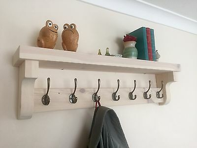 New Handmade Coat Hook Rack With Shelf, Rustic Wooden Vintage Style.