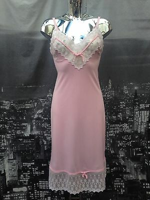 Stunning Vintage Pink Nylon With Lace Bodice